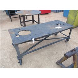 """34"""" X 82"""" ROLL AROUND METAL WORK TABLE"""