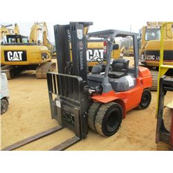 TOYOTA 7FDU35 FORKLIFT, VIN/SN:70070 - 8000 LB CAPACITY, TRIPLE STAGE MAST, CANOPY, METER READING 87