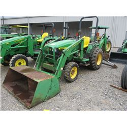 2000 JOHN DEERE 4400 FARM TRACTOR, VIN/SN:340460 - MFWD, FRONT LOADER BUCKET ATTACHMENT, REAR JOHN D