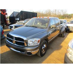 2008 DODGE RAM 3500 DUALLY, VIN/SN:3DML49A48G128766 - CREW CAB, CUMMINS TURBO DIESEL ENGINE, A/T,ODO