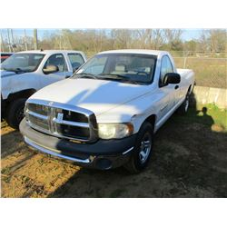2002 DODGE RAM 1500 PICKUP, VIN/SN:1D7HA16H62J204510 - GAS ENGINE, A/T, ODOMETER READING 76,952 MILE