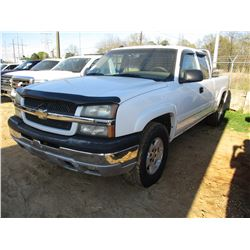 2005 CHEVROLET SILVERADO PICK UP, VIN/SN:1GCEK19B85E151463 - 4X4, EXT CAB, V8 GAS ENGINE, A/T, TOOL