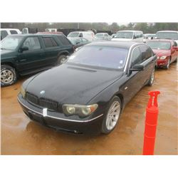 2003 BMW 745LI, VIN/SN:WBAGN63413DR11322 - GAS ENGINE, A/T, MOON ROOF