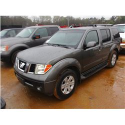 2006 NISSAN PATHFINDER, VIN/SN:5N1AR18UX6C664502 - GAS ENGINE, A/T, ODOMETER READING 145,917 MILES