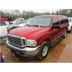 2002 FORD EXCURSION, VIN/SN:1FMNU40L42EA47643 V-8 GAS ENG, A/T, ODOMETER READING 216,236 MI