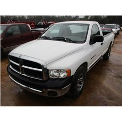 2003 DODGE RAM 1500 PICKUP, VIN/SN:1D7HA16NX3J676260 - GAS ENGINE, A/T,M P/S, A/C, ODOMETER READING