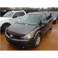 2004 NISSAN QUEST VIN/SN:5N1BV28U64N364134 - V6 GAS ENGINE, A/T