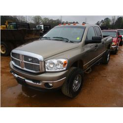 2008 DODGE RAM 2500 PICK UP, VIN/SN:3D7K528A98G178112 - 4X4, CREW CAB, CUMMINS DIESEL ENGINE, ODOMET