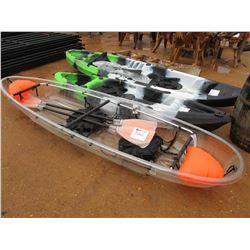 CLEAR KAYAK, 2 PERSON W/ 2 SEAT & PADDLES