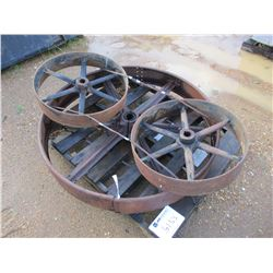 (3) MISC SIZE IRON WHEELS