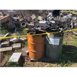 LOT OF TRANSMISSION HOUSINGS, RIMS, BRAKE DISC, SCRAP METAL, 2 PALLETTS OF CAR BATTERIES (STATED OWN