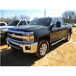 2015 CHEVROLET 2500HD PICKUP, VIN/SN:1GC2KVEG7FZ142050 - 4X4, CREW CAB, V8 GAS ENGINE, ODOMETER READ