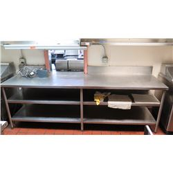 "Stainless Steel Prep Table w/2-Tier Shelving - 101"" X 28"" X 33.5"" H"