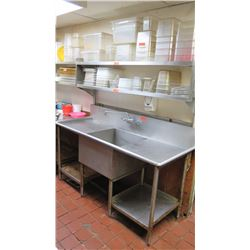 6' Stainless Steel Sink w/2-Tier Wall Mount Shelving - 6' X 14""