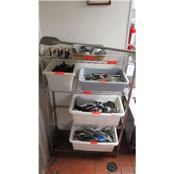 Wire Shelving With Contents: Cooking Utensils, Whisks, Tongs, Ladles, Scoopers, Bacon Press, High He