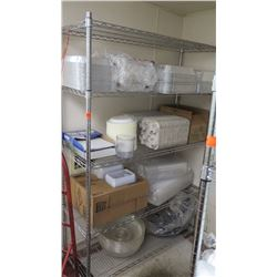 Wire Shelving With Contents: Misc. Aluminum Catering Pans, Plastic To-Go Containers, Bev. Holders, e