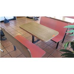 "Restaurant Tabletop & Seating Ensemble (Table 39.5"" X 23.5"") w/2 Seats (approx. 42""L X 15.5""W X 34"""