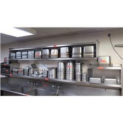 "3-Shelf Stainless Steel Wall Mount Shelving - Bottom 148"" X 14"".  Top Shelf w/2 tiers 112"" X 12"""