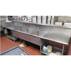 "Long Stainless Steel 3-Compartment Sink w/Drain Boards- 12.5 ft, 28"" Wide"