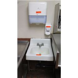 Porcelain Hand Sink, Paper Towel Dispenser, Soap Dispenser