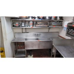 "2-Compartment Stainless Steel Sink w/Drain Boards - 89"" X 26"""