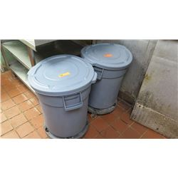 Qty 2 Utility Plastic Bins on Wheel Base