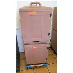 Qty 2 Carlisle Stackable Catering Cube Food Pan Carriers - Each Holds 8 Trays - Includes One Wheeled