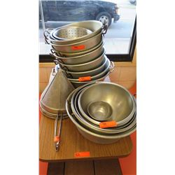 Lot of Misc. Round Aluminum & Stainless Steel Strainers, Bowls, Basins, Strainers, etc. - Various Si