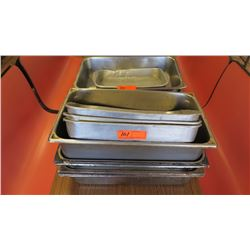 Lot of Misc. Rectangular Aluminum & Stainless Steel Pans and Trays