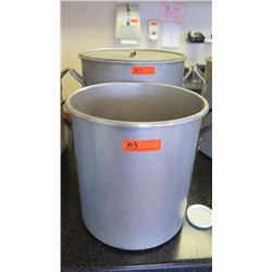 "Qty 2 Large Cooking Pots (First: 19"" diameter, 19"" tall. Second 19"" diameter, 19"" tall) - Only 1 Has"