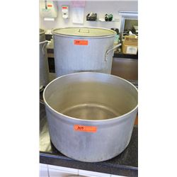 "Qty 2 Large Cooking Pots (First: 19"" diameter, 19"" tall. Second 18.5"" diameter, 10"" tall) - Only 1 H"