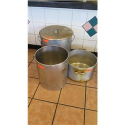 "Qty 3 Lrg Cooking Pots (Stnls Steel 18"" dia, 20"" tall; Stnls Steel 15.5"" dia, 17"" tall; 3rd Pot 16.5"
