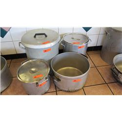 "Qty 4 Large Cooking Pots (17"" dia, 18"" tall; 14"" dia, 14"" tall; 13"" dia, 10.5"" tall, 16.5"" dia, 10"""