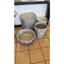 "Qty 4 Large Cooking Pots (18"" dia, 20"" tall; 14"" dia, 14"" tall; 14"" dia, 14"" tall, 18.5"" dia, 9.5"" t"