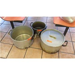 "Qty 3 Cooking Pots (16.5"" dia, 10"" tall; 16.5"" dia, 10"" tall; 12.5"" dia, 8"" tall) - Only 1 has lid"
