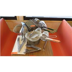Misc. Commercial Deep Fryer Strainers, Ice Scoopers, Tongs - Various Sizes