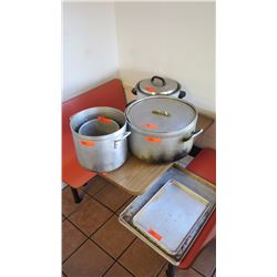 "Commercial Rice Cooker, 6 Aluminum Sheet Pans, Pot (16.5"" dia, 10"" tall), Two Smaller Pots"
