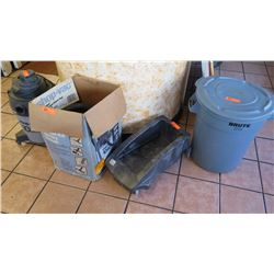 Shop Vac with Attachments, Rubbermaid Utility Bin Mobile Base (w/Wheels), Round Plastic Utlity Bin