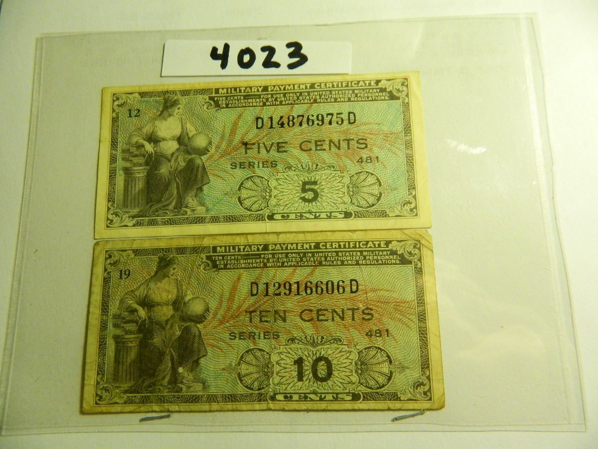 Two 2 Series 481 Us Military Payment Certificates Both One
