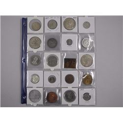 20x Estate - Numismatics - Coins, Tokens, Medals etc with 1935, 1949 CAD Silver Dollar Coins (ATTN: