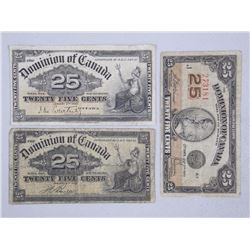 3x Dominion of Canada - Twenty Five Notes. 1900 and (2) 1923. 3-Signature Sets (ATTN: 3 Times the bi