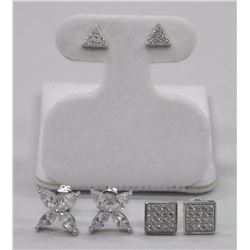 3x 925 Sterling Silver Earring Micro Pave Set with Swarovski Elements. Stud Backs (ATTN: 3 Times the