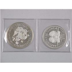 2x Papua New Guinea and Bahamas - Sterling Silver 1975 K10 and 1973 $10.00. Approx 92 gr (ATTN: 2 Ti