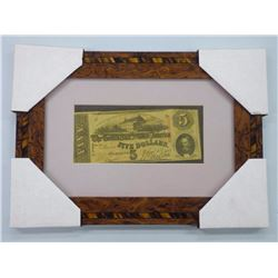 'Confederate States of America' Framed Five Dollar Note. Dated 1863.