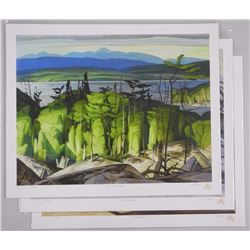 3x A.J. Casson (1898-1992) Litho's - 'Through my Eyes Series' 17x21 unframed with SEAL (ATTN: 3 Time