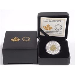 2014 - $5.00 .9999 Fine Silver Coin 'Flowers in Canada - Rose'. (SKR)