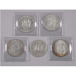 5x Canada Silver Dollar Coins: 1949, BU 1963, 1964, 1965, 1966 (ATTN: 5 Times the bid price)