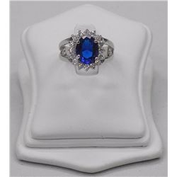 Ladies Custom Ring, Lady Diana Style Oval Sapphire Blue Swarovski Elements, 7.60cts. SRRV: $650.00.