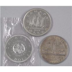 3x Canada Silver Dollar Coins - 1939, 1949, 1964 (PL) Commemorative Issues (ATTN: 3 Times the bid pr
