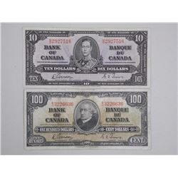 Lot (2) Bank of Canada 1937 One Hundred Dollar Note and Ten Dollar Note - 2 Signature Sets